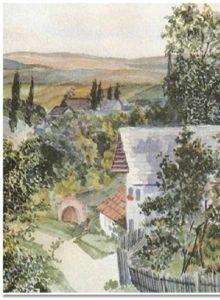 Questo paesaggio bucolico in acquerello fu uno dei lavori che Hitler accluse alla domanda di ammissione all'Accademia di Belle Arti di Vienna nel 1907