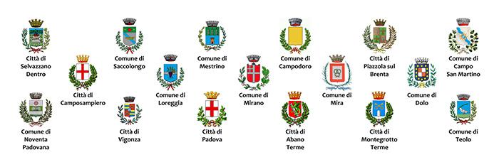 Comuni delle province di Padova e Venezia